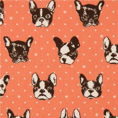 salmon dog oxford fabric by Kokka from Japan