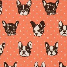 salmon dog oxford fabric by Kokka from Japan