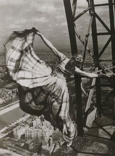 Fashion picture at the Eiffel Tower, 1938, by Erwin Blumenfeld