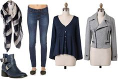 Super Bowl outfit for a Seattle Seahawks fan: Jeans, navy long-sleeve tee, moto jacket, scarf, ankle booties