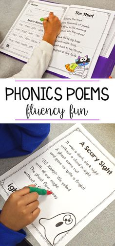 These phonics poems are the perfect way to have your students practice fluency! I love to put these poems in a poetry folder and each week we have a new word family or phonics skill to learn. Kindergarten, first grade, and second grade students can read t Teaching Phonics, Phonics Activities, Kindergarten Literacy, Teaching Reading, Guided Reading, Preschool, Poetry Activities, Teaching Resources, Shared Reading