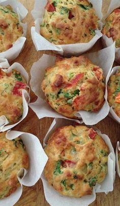 Feta and Spinach Savoury Muffins - Quick and Easy Recipes, Organic Food Recipes, New Zealand Cooking Recipes - Annabel Langbein Savory Muffins, Savory Breakfast, Healthy Muffins, Savory Snacks, Mini Pie Recipes, Pastry Recipes, Cooking Recipes, New Zealand Spinach Recipe, Spinach And Feta Muffins