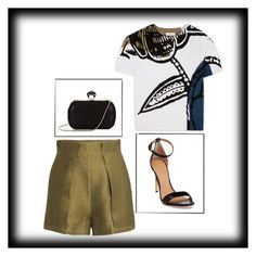 """Black details"" by lorytoro ❤ liked on Polyvore featuring H&M, Tory Burch and DVF"