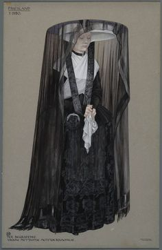Makes suttee look more attractive.Friesland ca. Woman with 'German cap' dressed for a funeral. Drawing by Jan Duyvetter. Historical Costume, Historical Clothing, Vintage Outfits, Vintage Fashion, Mode Bizarre, Folk Costume, Costumes, Mode Renaissance, Mourning Dress