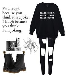 """Me in a single quote...."" by ms-believer ❤ liked on Polyvore featuring Dr. Martens, Monki and Manic Panic"