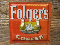 Folgers Coffee Tin Antique Light Switch Cover Plate by tincansally #coffeetin #antiquetin