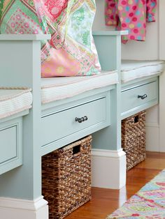 Painted mudroom built-ins