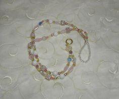 Pink Yellow White and Crystal Lanyard by Alisonsjewelryshop, $21.98