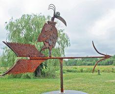 Weather Vane Bird Feeder Found Object Sculpture by foundobjectart