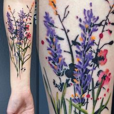 floral tattoo watercolor…