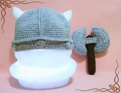 Viking Newborn hat and axe rattle prop knit hat Ragnar skyrim baby set. Ideal for children of Vikings and followers of Odín.