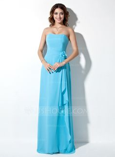 Bridesmaid Dresses -- A-Line/Princess Strapless Floor-Length Chiffon Bridesmaid Dress With Ruffle Flower(s) Love this skirt Light Blue Bridesmaid Dresses, Blue Bridesmaids, Bridesmaid Gowns, Wedding Party Dresses, Prom Dresses, Special Occasion Dresses, Strapless Dress Formal, Fashion Dresses, Chiffon