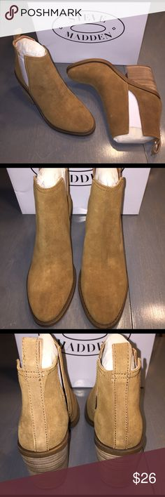 Steve Madden - Sharini Boot BNIB - Chestnut - SZ 8 - Chunky stacked heel suede bootie with cutout slits on sides Steve Madden Shoes Ankle Boots & Booties