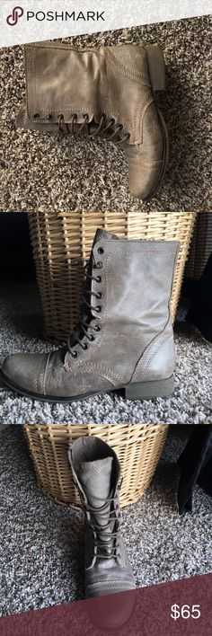 Steven madden; TROOPA This is the perfect combat boot! The TROOPA is a serious statement shoe that is a raging runway sensation. Chic girls all over the world are wearing them with anything from leggings and a flannel, to floral summer frocks.                    🌞Leather or velvet upper material ☄️Man-made or leather lining 🌞Synthetic sole ☄️1 inch heel height 🌞Inside zipper Steve Madden Shoes Combat & Moto Boots