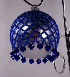 Royal Blue and Silver Beaded Ornament with by craftygirljewelry, $15.00