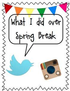 Spring Break Welcome Back Task with Paper-Twitter & Instagram