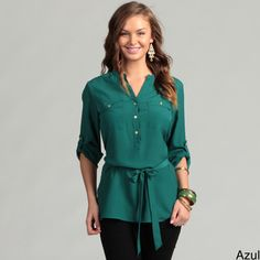 @Overstock - Trendy camper sleeves complement the extended length of this Calvin Klein blouse. This blouse features a sash tie waist which allows for a more feminine fit.http://www.overstock.com/Clothing-Shoes/Calvin-Klein-Womens-Camper-Sleeve-Blouse/6614520/product.html?CID=214117 $46.99