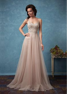 Attractive Tulle & Satin Spaghetti Straps A-Line Wedding Dresses With Beaded Lace Appliques