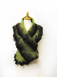 Lime and chocolate scarf hand felted with by GabardineCouture, 88.00