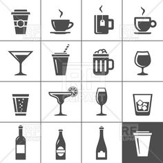 Drinks and beverages icon set, download royalty-free vector clipart (EPS)