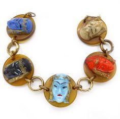 Vintage Art Deco Egyptian Revival Lucite Glass Face Panel Bracelet | Clarice Jewellery | Vintage Costume Jewellery