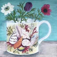 'Shell cup and Anemones' this painting is similar to one I posted the other day for my 800th painting, but this is a smaller version, the shell design is so lovely to paint. This is one of four new pieces going to the brilliant @theeditionshop later this week. I have just been commissioned to paint it again on a bigger composition with the sea as a backdrop, I'm really looking forward to starting that later today. Happy Monday to you all. SOLD