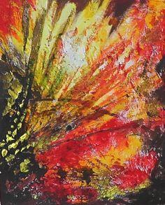 Blumen im Feuer, Acryl auf Leinwand, D003, 30x30