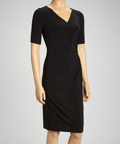 Take a look at this Black Surplice Dress by Tiana B on #zulily today!