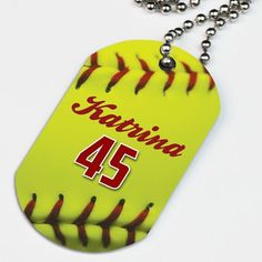 Personalize this softball dog tag necklace with stylized softball stitches that appear to pop off the dog tag with a name and player number for a great gift. Softball Bracelet, Softball Jewelry, Softball Gifts, Cheerleading Gifts, Basketball Gifts, Girls Softball, Sports Gifts, Softball Coach, Softball Players