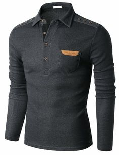 Doublju Mens Long Sleeve Polo T-shirt with Snap Buttons at Shoulder CHARCOAL