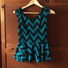 Teal and black chevron peplum shirt Teal and Black chevron peplum shirt from Charlotte Russe Charlotte Russe Tops