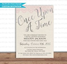 Silver Pink Lace Once Upon A Time Fairy Tale Bridal Shower Invitation Printable Diy No I218 2