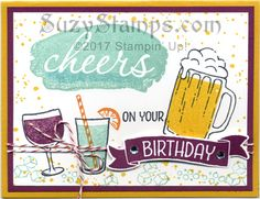 Stampin' Up! Masculine Cards - 2017-04 Class - Mixed Drinks, Time of Year, Reverse Words and Gorgeous Grunge stamp sets and Bunch of Banners Framelits Dies