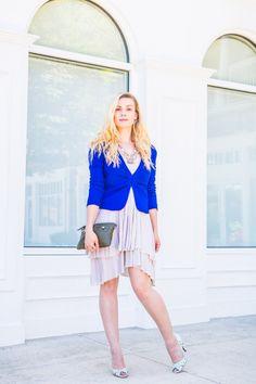FEELING BLUE #chic #fashion #womenswear #workwear #accessories #statement #necklace #styleinspiration #cobaltblue #shortblazer #trapezedress #layering #dkny #handbag #BCBGeneration #pump #fashionblogger for #urbandarling #washingtondc #wardrobestylist #style