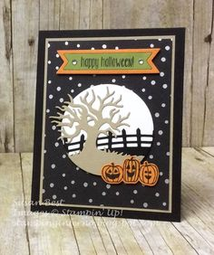 "2016  Created by Susan Best USING the Spooky Fun Photopolymer Stamps [142236]  $16.00 , Halloween Scenes Edgelits Dies [141842]  $25.00 ,  Halloween Night Specialty Designer Series Paper  142022 Price: $13.00 ,  Halloween Night 12"" X 12"" (30.5 X 30.5 Cm) Cardstock Pack142023 Price: $11.00 ,"