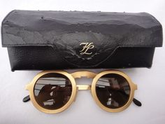 98f0e18535 Vintage karl lagerfeld round gold amber lens 80 s made in germany sunglasses
