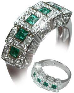 Italian Finest Anillos para Mujer - Oro 18 Kl - Diamantes y Esmeraldas