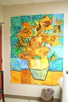 Trabajo grupal... cada niño coopera con parte de la gran pintura...