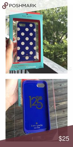 NWB Kate Spade Blue Polka Dot iPhone 5 Case New with box, never used • 100% authentic Kate Spade blue & white polka dot iPhone 5/5S case • super cute & chic • NO TRADES‼️ • 15% off bundles  kate spade Accessories Phone Cases
