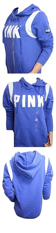 """Victoria's Secret Pink Crossover Pullover Hoodie Color Purple Blue/ White Size (Small) Relaxed Fit. Victoria's Secret Pink Crossover Pullover Hoodie. Color Purple Blue/White. 60% Cotton 40% Polyester. Long Sleeve, 2 Pockets. Size Small Aprox: Pit to pit 20"""" Shoulder to hem 27 """" #Apparel #BLAZER"""