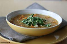 Lentil soup with coriander pesto