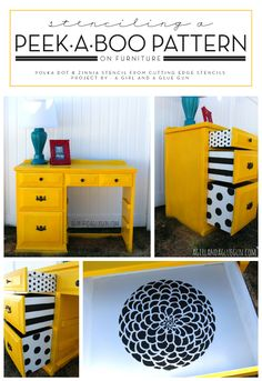 Stenciling A Peek-A-Boo Pattern On Furniture This would be a neat way to add pops of color in a small kitchen with white/offwhite cabinetry. Stenciling A Peek-A-Boo Pattern On Furniture Refurbished Furniture, Upcycled Furniture, Furniture Projects, Furniture Making, Furniture Makeover, Painted Furniture, Diy Furniture, Furniture Stencil, Furniture Stores