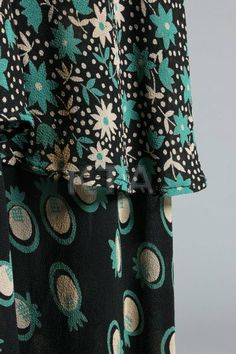 An Ossie Clark/Celia Birtwell printed chiffon dress, mid Radley labelled and size with overall green and w. Geek Fashion, Retro Fashion, Vintage Fashion, Retro Outfits, Vintage Outfits, Chiffon Kimono, Chiffon Blouses, Celia Birtwell, Ossie Clark