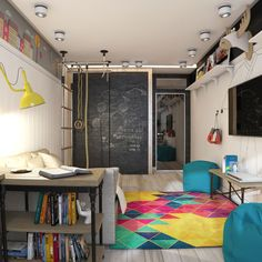 3 Modern Teen Room Designs Decorated With Creative Ideas Looks Funky and Adorable Teen Room Designs, Boys Room Design, Playroom Design, Funky Bedroom, Bedroom Decor, Wall Decor, Trendy Bedroom, Diy Wall, Teenager Zimmer Design