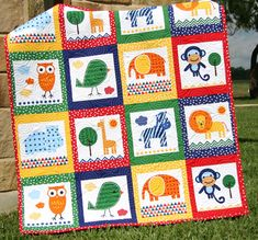 Animal Baby Quilt Patchwork Safari Zoo Jungle by SunnysideDesigns2