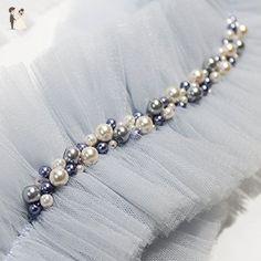 Dusty Blue Wedding Garter - Blue Ivory Pearl Embroidery - Custom Bridal Garter by Ollegoria Pearl Embroidery, Hand Embroidery Dress, Embroidery Fashion, Embroidery Jewelry, Bead Embroidery Tutorial, Bead Embroidery Patterns, Ivory Pearl, Blue Ivory, Sleeves Designs For Dresses