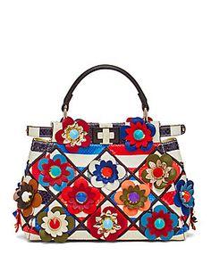7a54ab422d88b Fendi - Peekaboo Mini Floral Patchwork Python   Leather Satchel