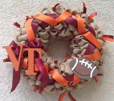 Custom Virginia Tech Football Wreath Go Hokies by MaeBeaKnots Diy Wreath, Burlap Wreath, Virginia Tech Football, Sports Wreaths, Football Wreath, Emma Style, Michigan, Diy Crafts, Handmade Gifts