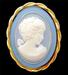 Large Vintage Blue Cameo Brooch Pin Estate Lovely | eBay