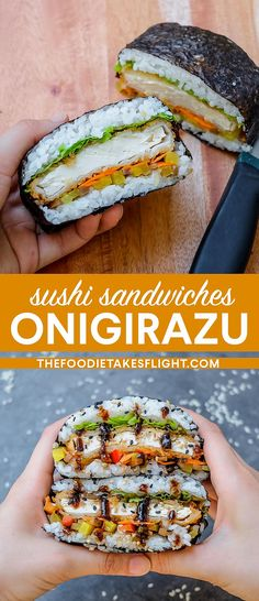 "Vegan Tofu ""Katsu"" Sushi Sandwiches (Onigirazu) and Rolls Sushi Rice Recipes, Raw Food Recipes, Asian Recipes, Vegetarian Recipes, Cooking Recipes, Healthy Recipes, Asian Foods, Vegetable Recipes, Fall Recipes"